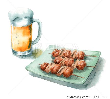 日式烤雞串 雞肉烤串 金槍魚和蔥段 31412877
