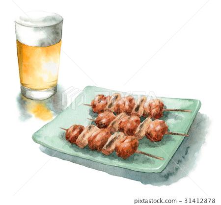 日式烤雞串 雞肉烤串 金槍魚和蔥段 31412878
