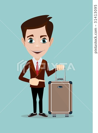 businessman holding modern suitcase with wheels. 31413095