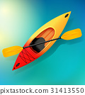 Kayak and paddle Vector on water illustration of 31413550