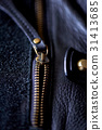 ajar the zipper on a leather bag 31413685