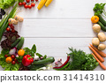 Border of fresh vegetables on white wood 31414310