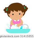 Cute girl washing hands vector. 31415055