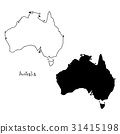 outline and silhouette map of Australia  31415198