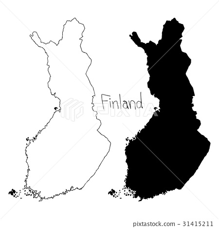 outline and silhouette map of Finland - Stock Illustration ...