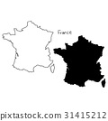 outline and silhouette map of France  31415212