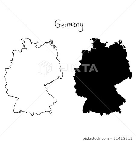 outline and silhouette map of Germany  31415213