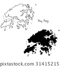 outline and silhouette map of Hong Kong  31415215