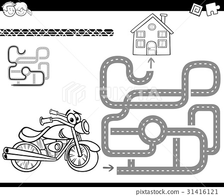 maze with bike for coloring 31416121