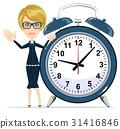 woman, alarm, clock 31416846