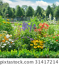 Blossoming flowerbed in the park 31417214