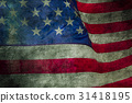 Closeup of grunge American flag 31418195