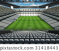 Large soccer football Stadium with white seats 31418443