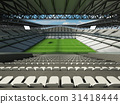 Large soccer football Stadium with white seats 31418444