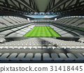 Large soccer football Stadium with white seats 31418445