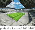 Large soccer football Stadium with white seats 31418447