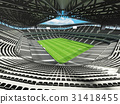 Large soccer football Stadium with black seats 31418455