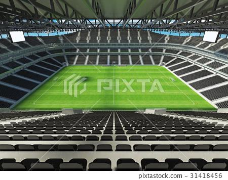 Large soccer football Stadium with black seats 31418456