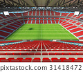 Large soccer football Stadium with red seats 31418472