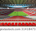 Large soccer football Stadium with red seats 31418473