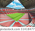 Large soccer football Stadium with red seats 31418477