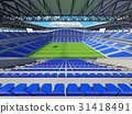 Large soccer football Stadium with blue seats 31418491