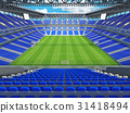 Large soccer football Stadium with blue seats 31418494