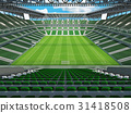 Large soccer football Stadium with green seats 31418508