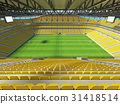 Large soccer football Stadium with yellow seats 31418514