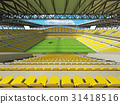 Large soccer football Stadium with yellow seats 31418516