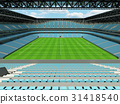 Large soccer football Stadium with sky blue seats 31418540
