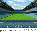 Large soccer football Stadium with sky blue seats 31418544