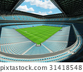 Large soccer football Stadium with sky blue seats 31418548