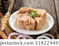 Canned tuna fish in plate 31422440