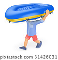 3D Man shorts carrying an inflatable boat on head 31426031