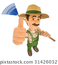 3D Gardener with a rake and thumb up 31426032