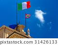 Italian flag and Presidential pennant, Rome, Italy 31426133
