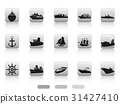 ship boat icon buttons set 31427410