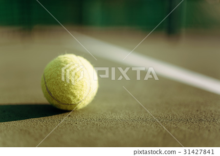 Tennis ball on ground coverage closeup 31427841