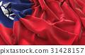 Taiwan Flag Ruffled Beautifully Waving 31428157