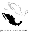 outline and silhouette map of Mexico 31429651