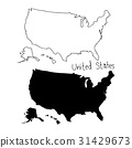 outline and silhouette map of The United states 31429673