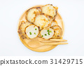 Thai coconut pudding on wooden dish 31429715