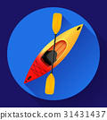 Kayak and paddle icon vector. Outdoor activities 31431437