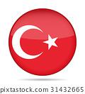 Flag of Turkey. Shiny round button. 31432665
