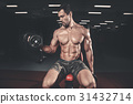 Caucasian sexy fitness male model execute exercise 31432714