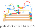 Wooden bead maze, educational toy. 3D rendering 31432815