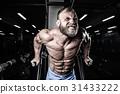 Brutal caucasian handsome fitness men on diet training chest pum 31433222