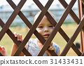 Sad and lonely child looking out through fence 31433431