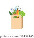 Paper bag full of grocery. 31437445